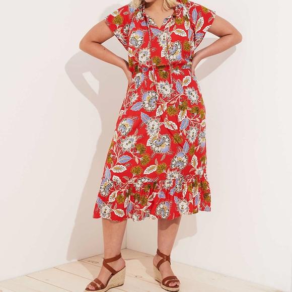 e0e67fc1c8 LOFT Dresses | Plus Summer Blossom Tie Neck Flounce Dress 24 | Poshmark